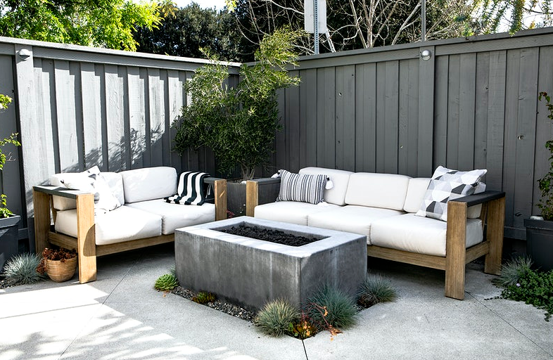 black and white themed patio